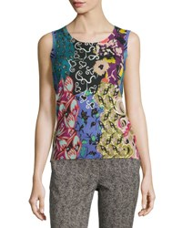 Etro Patchwork Printed Silk Cashmere Shell Green