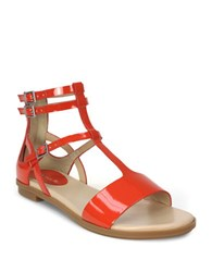 Tahari Wave Flat Leather Sandals Orange