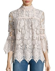 Anna Sui Sheer Long Sleeve Lace Top White