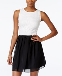 Speechless Juniors' Lace Top Contrast Fit And Flare Dress White Black