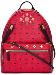 Mcm Studded Backpack Red
