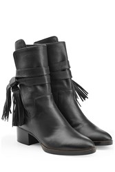 Chloe Fringe Leather Ankle Boots Black