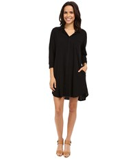 Allen Allen 3 4 Sleeve Shirtdress Black Women's Dress