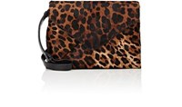 Dries Van Noten Women's Leopard Print Calf Hair Envelope Shoulder Bag Brown