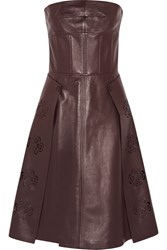 Alexander Mcqueen Laser Cut Leather Dress Red