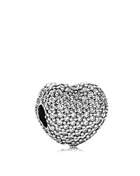 Pandora Design Pandora Clip Sterling Silver And Cubic Zirconia Pave Open My Heart Moments Collection Silver Clear