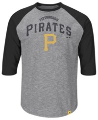 Majestic Men's Big And Tall Pittsburgh Pirates Fast Win Raglan T Shirt Gray Black