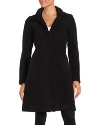 French Connection Notch Collar Faux Fur Coat Black