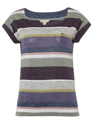 White Stuff Betsy Multi Stripe T Shirt Ceramic Green