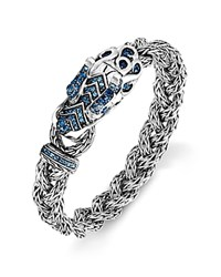 John Hardy Men's Sterling Silver Naga Small Braided Chain Dragon Head Bracelet With Blue Sapphire And Ruby Eyes Black Silver