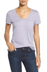 Caslonr Petite Women's Caslon Relaxed Slub Knit U Neck Tee Purple Ash