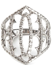 Loree Rodkin White Gold And Grey Diamond Pave Shield Ring Metallic