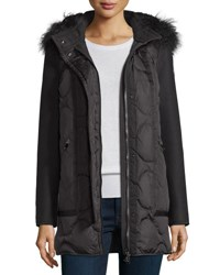 Moncler Theodora Quilted Puffer Coat W Shearling Hood Black