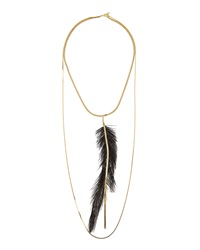 Serefina Chantilly Feather Statement Necklace Black