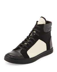 Kenneth Cole Double Up Colorblock High Top Sneaker Off White Black