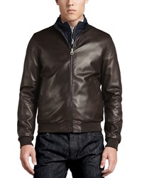 Salvatore Ferragamo Reversible Leather To Nylon Bomber Jacket Chocolate Navy