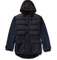 Helbers Panelled Cotton Blend And Shearling Coat Storm Blue