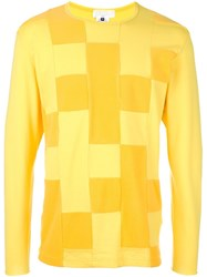 Ganryu Comme Des Garcons Patchwork Long Sleeved T Shirt Yellow And Orange