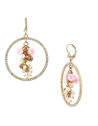 Betsey Johnson Pearl And Crystal Mixed Multi Charm Cluster Pave Gypsy Hoop Earrings