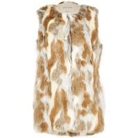 River Island Womens Light Brown Patchwork Faux Fur Gilet