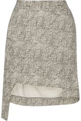 Vivienne Westwood Anglomania Asymmetric Coated Silk Bourette Mini Skirt Off White