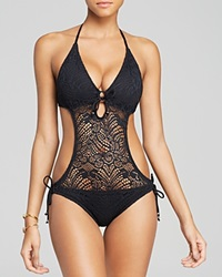 Polo Ralph Lauren Crochet Monokini One Piece Swimsuit Black