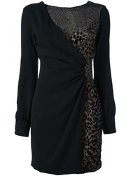 Ungaro Emanuel Leopard Print Detail Dress Black