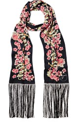 Temperley London Treasure Fringed Printed Satin Scarf Pink