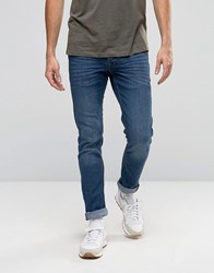 Solid Jeans In Slim Fit Washed Light Blue Denim With Stretch Washed Light Blue