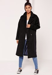Missguided Cocoon Double Breasted Faux Wool Coat Black