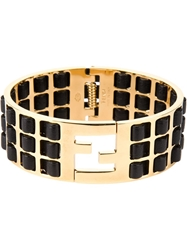 Fendi Leather Insert Bracelet Black