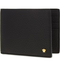 Versace Mini Medusa Grained Leather Wallet Black Gold