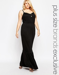 Pink Clove Frill Hem Maxi Dress Black