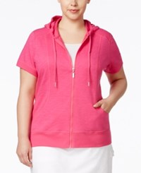 Styleandco. Style And Co. Plus Size Hooded Short Sleeve Jacket Only At Macy's Pink Breeze