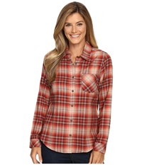 Pendleton Frankie Flannel Shirt Rosewood Heather Plaid Women's Clothing Brown