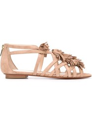 Santoni Tasselled Flat Sandals Nude And Neutrals