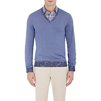 Etro Men's Paisley Detailed V Neck Sweater Blue