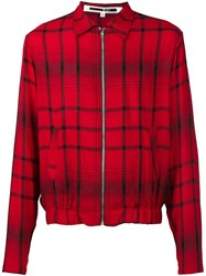 Mcq By Alexander Mcqueen Checked Bomber Jacket Red