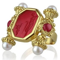 Tagliamonte Classics Collection Pearls And Rubies 18K Gold Ring Red