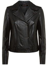 Jaeger Leather Biker Jacket Black