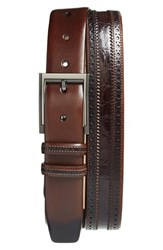 Men's Big And Tall Mezlan 'Diver' Crocodile Leather Belt Brown
