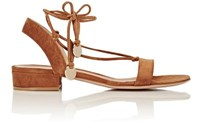 Gianvito Rossi Women's Cherry Suede Ankle Tie Flat Sandals Brown