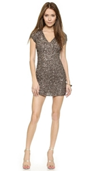 Parker Cluster Beaded V Neck Dress Mauve