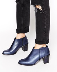 Miista Anais Low Cut Leather Heeled Ankle Boots Navy