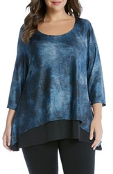 Karen Kane Plus Size Women's Contrast Hem Layered Look Top
