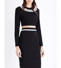 Thierry Mugler Striped Stretch Knit Cropped Top Black
