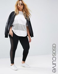 Asos Curve Leggings With Mesh Side Insert Black