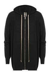 Rick Owens Men Cotton Cashmere Oversized Hoodie Black