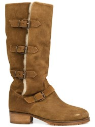Chuckies New York Buckle Strap Boots Brown