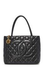 Wgaca Chanel Medallion Tote Previously Owned Black